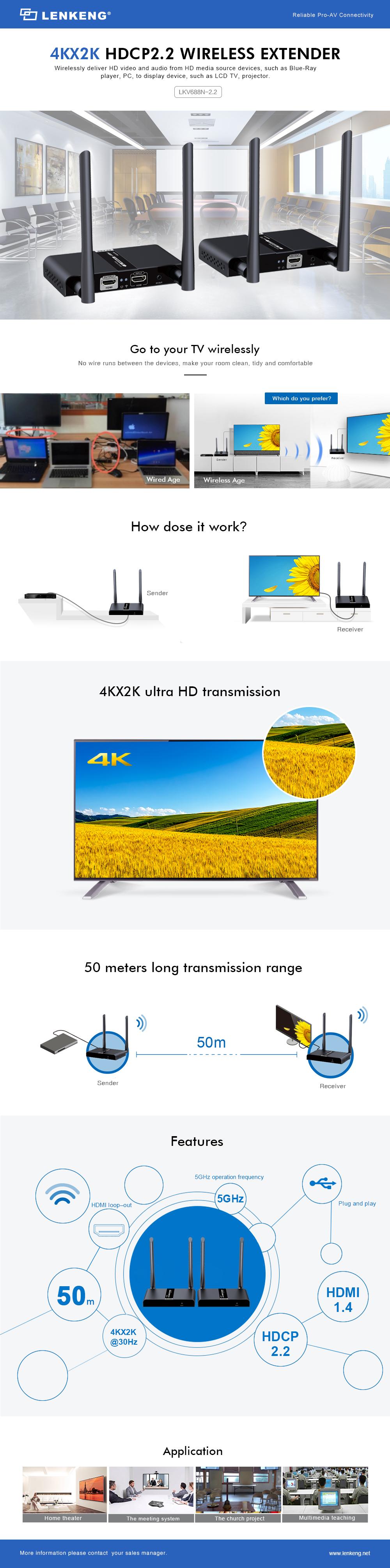 Lenkeng LKV6882N-2.2 WiFi HDMI Extender